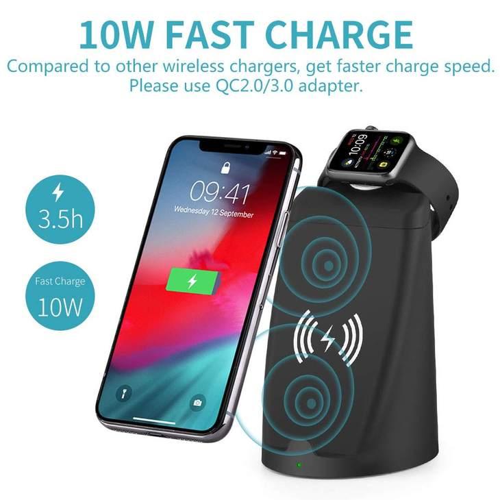 Rexiao无线充电器支持iPhone和Apple Watch同时充电
