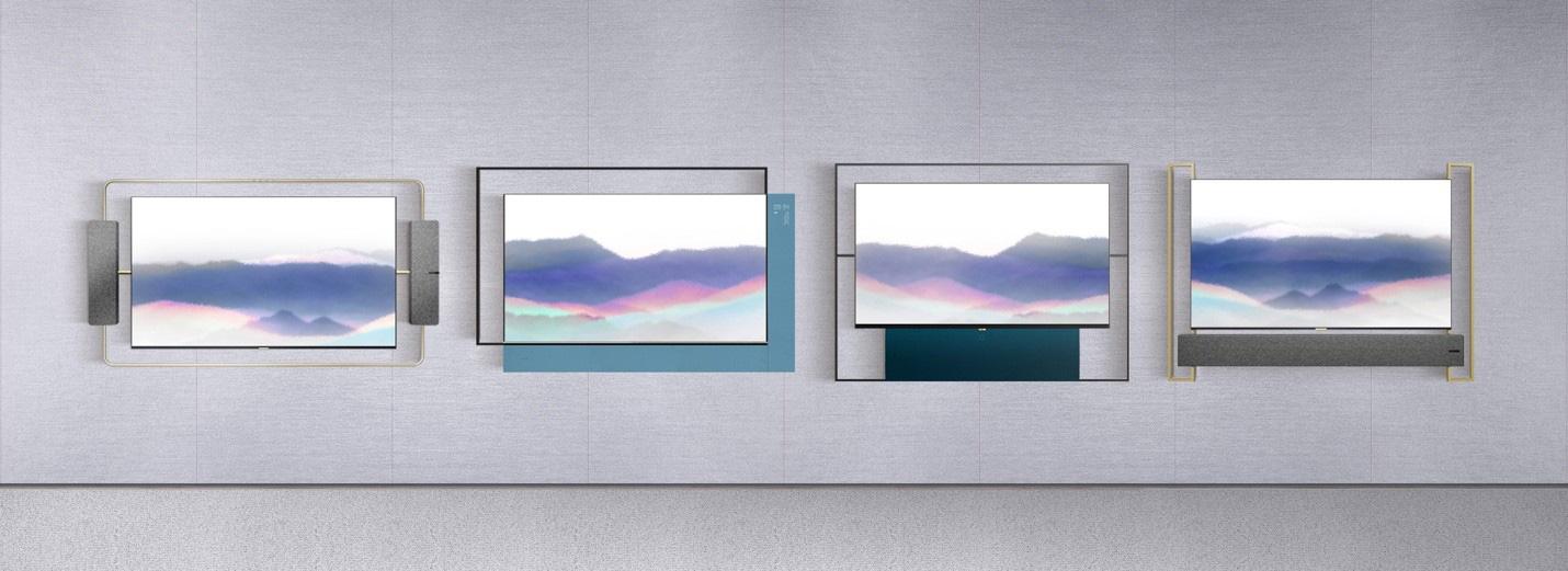 还有 tcl 的 xess 浮窗全场景 tv,电视与墙面基本是完全贴合的状态