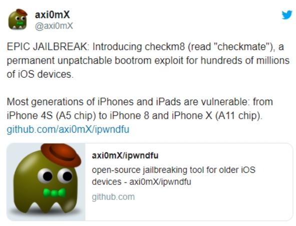 苹果出大事!数亿台iOS设备可永久性越狱 无法软件修复