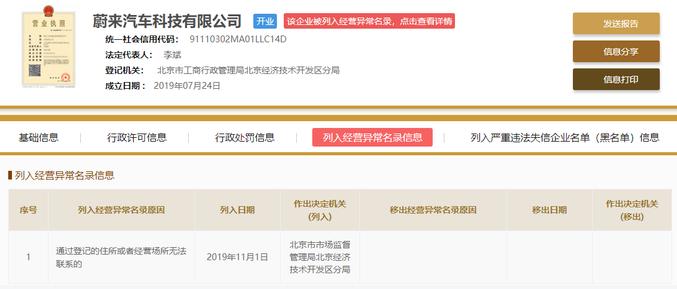 蔚来子公司被列为经营异常名录,官方回应:成立不到四月