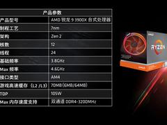 AMD锐龙9 3900X处理器降至3399元