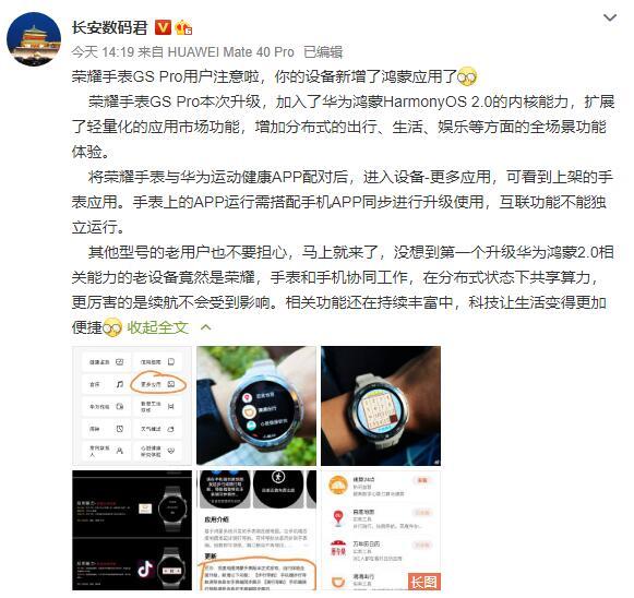荣耀手表GS Pro新增鸿蒙应用