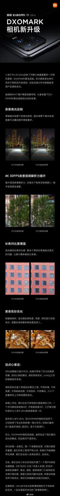 小米11 Ultra推送MIUI12.5.4:相机升级DxO 固件