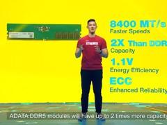 威刚DDR5内存新品发布,频率首次突破万兆