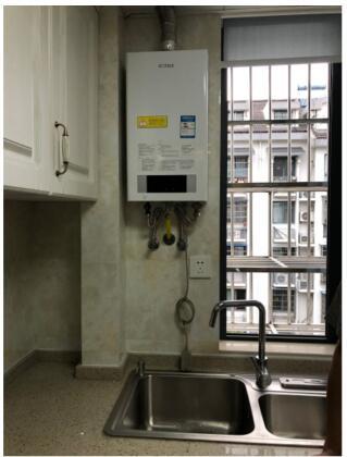 (燃气热水器安装在厨房示意图)
