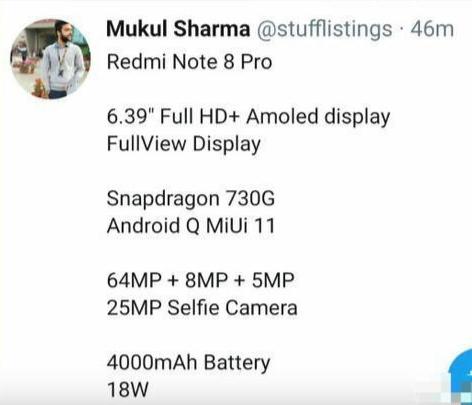 全面升级!红米Note 8 Pro 最新爆料 后置6400万三摄