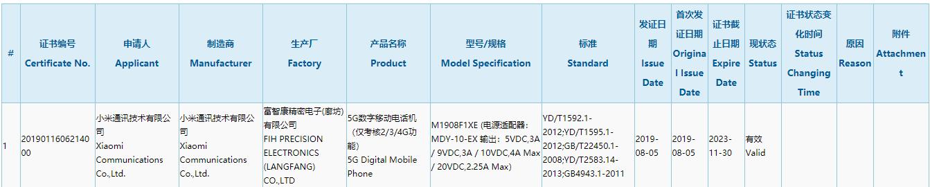 小米首款5G手机入网,不是期待的MIX 4 5G版