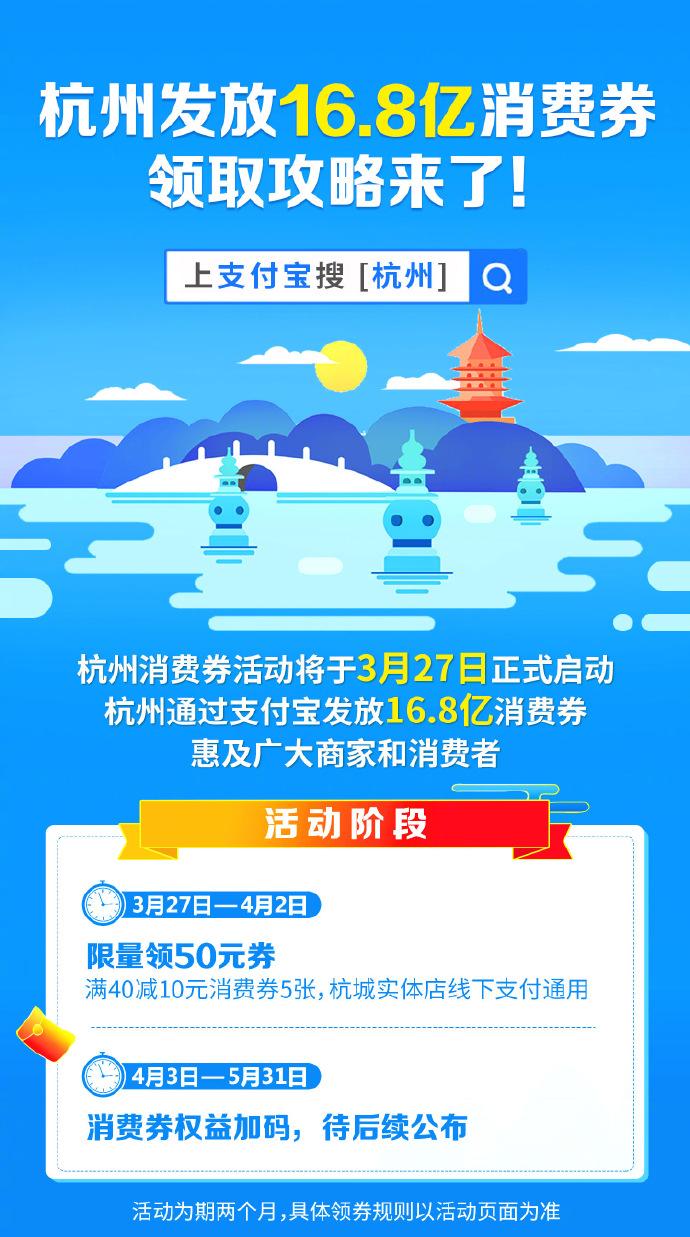 支付宝官宣!杭州发放16.8亿消费券,领取攻略来