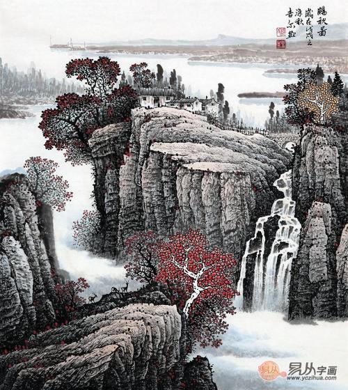 许吉尔最新斗方山水画《畅秋图》