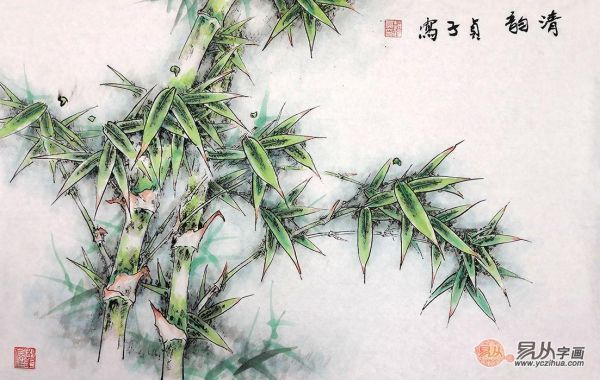 绿色的竹子也被视为平安竹,寓意平安,吉祥如意,适合家中悬挂.